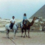 Dean and Kim on horse and camel Egyptian Pyramids