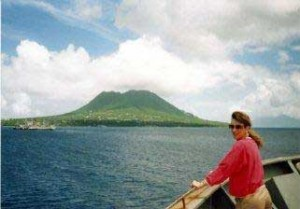Kim on bow of ship near St. Eustatius in Carribbean