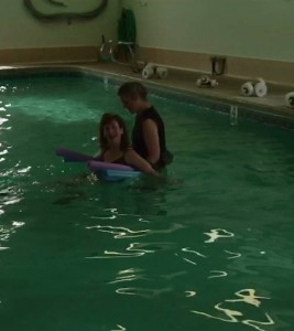 Post surgery  aqua therapy first time in pool 6-6-13