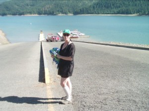At Dworshak Reservoir-going down boat ramp