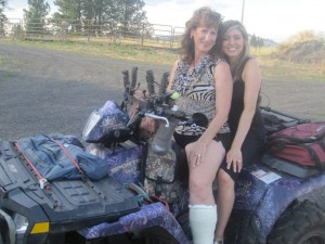 Kim & Melanie, ATV fun with short leg cast