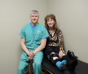 Dr. Main with Kim-6 days after Proximal/Distal Tib-Fib Surgery