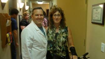 7-16-14 Dr. Gent & Kim Post Op 5-days since LF Ankle Arthrex Surgery