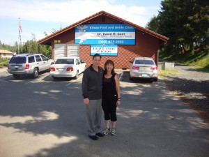 Julian PRP Rep & Kim outside of Kitsap Foot and Ankle Clinic